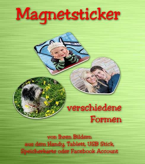 Verschiedene Formen der Magnetsticker