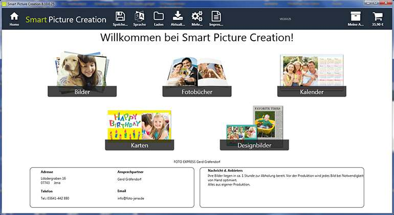 Screen der Smart Picture Creation Software