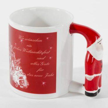 Bedruckbare Fototasse mit einem Weihnachtsmann als Henkel