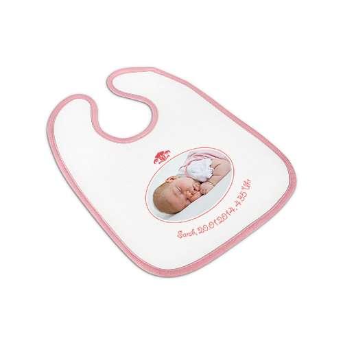 Babylätzchen mit rosaner Borte und eigenem Bild und Text.
